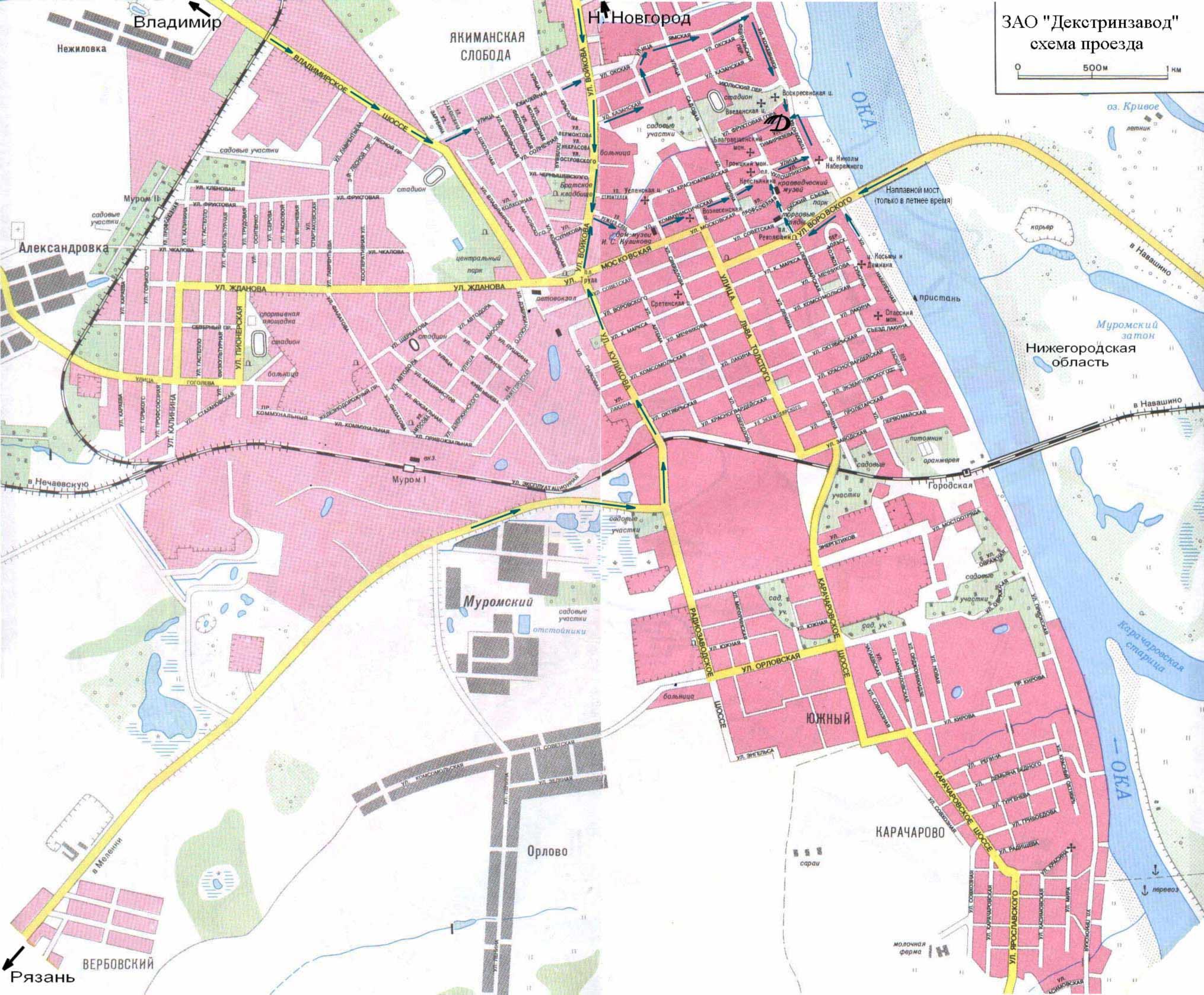 Подробная карта Мурома (Владимирская область) с названиями улиц.  Для просмотра карты города в полном размере нажмите...